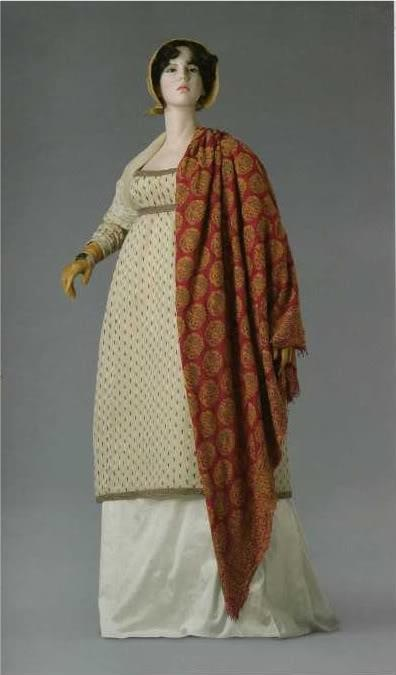Elinor 1808-10. Tunic of wool and silk 1808-10. Fichu of muslin 1795. Bonnet 1810-1815. Napoleon and the empire of fashion