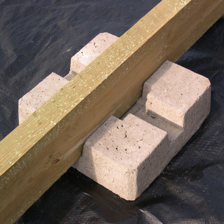 Concrete deck block. Eliminates post hole digging, mixing concrete and pouring footings ...
