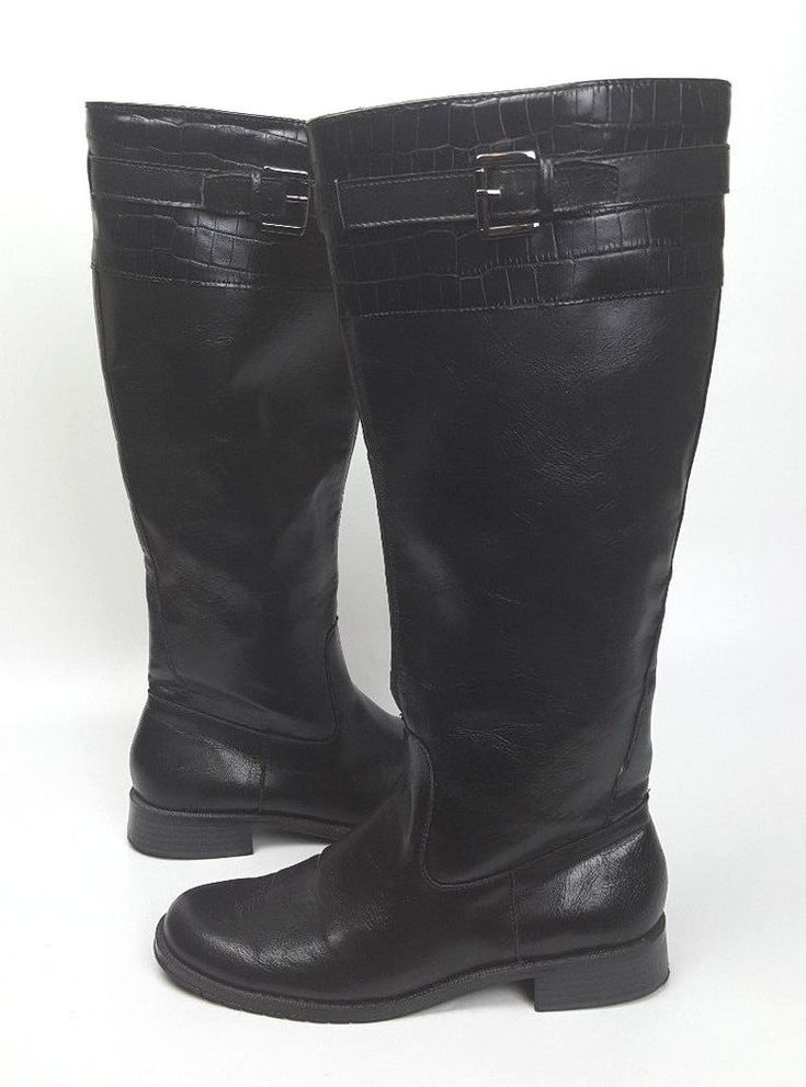Aerosoles boots 8.5 M black man made tall riding boots Waterride #Aerosoles #KneeHighBoots