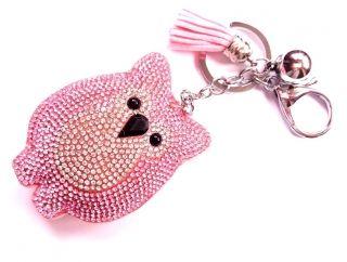 Bagoly kristályos kulcstartó pink