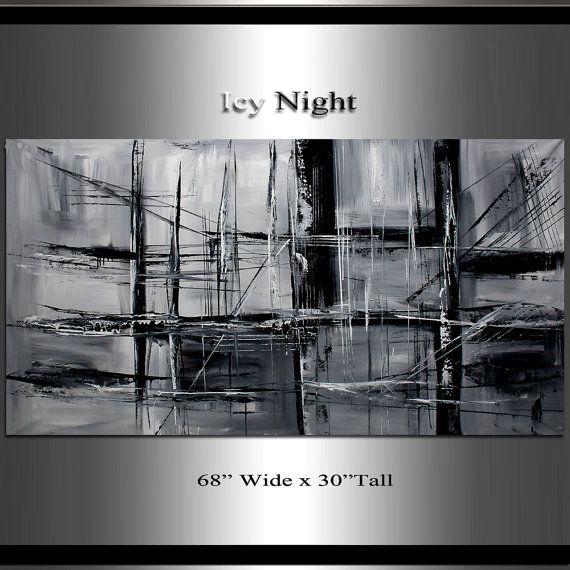Originale et minimaliste noir et blanc peinture 68 x 30 for Tableau minimaliste