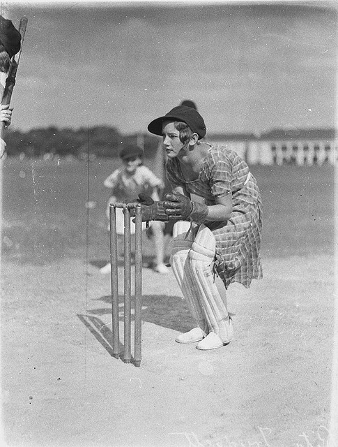 Rita Trudget [Trudgett ?], wicket keeper, Moore Park, 1930s by Sam Hood For more information about women's cricket in Australia see Discover Collections - Cricket in Australia www.sl.nsw.gov.au/discover_collections/society_art/cricke... Format: Photograph Find more detailed information about this photograph: http://acms.sl.nsw.gov.au/item/itemDetailPaged.aspx?itemID=51747 From the collection of the State Library of New South Wales www.sl.nsw.gov.au