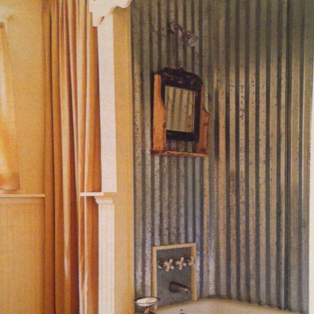 Corrugated tin shower liner rubadubdub pinterest for Corrugated iron bathroom ideas