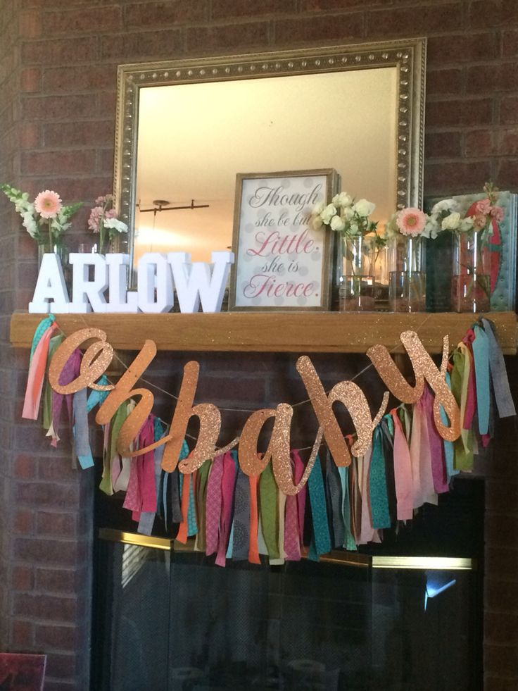 Baby Shower Mantle Idea DIY tassel garland Baby's name  Fresh flowers By: Lyndon Parker