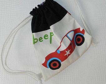 sac dos enfant sac linge sac doudou avec lien coulissant et motif voiture et. Black Bedroom Furniture Sets. Home Design Ideas