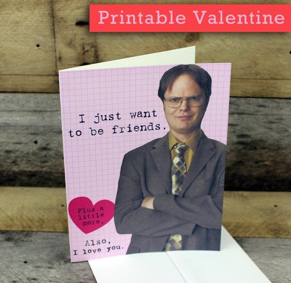 Dwight Schrute Valentine Card printable The Office funny cards