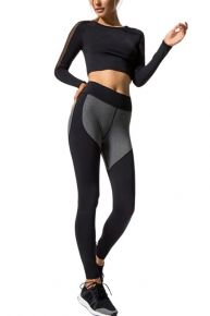 Sassy Modern Fit Black Patchwork Yoga Tights Wide Waistband