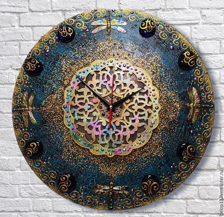"""Купить Часы настенные """"Стрекозки"""" - комбинированный, часы настенные, часы интерьерные, стрекоза, восток, этностиль"""