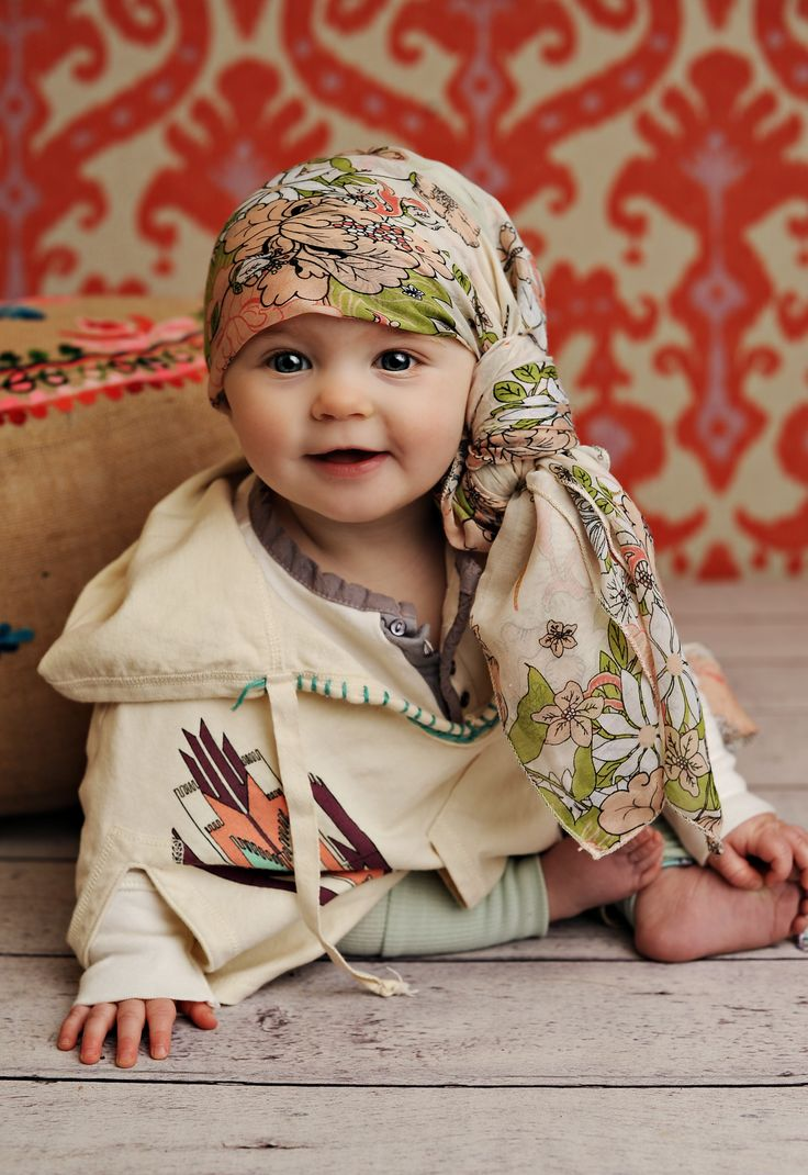Baby style with scarf, poncho. Fun photography shoot