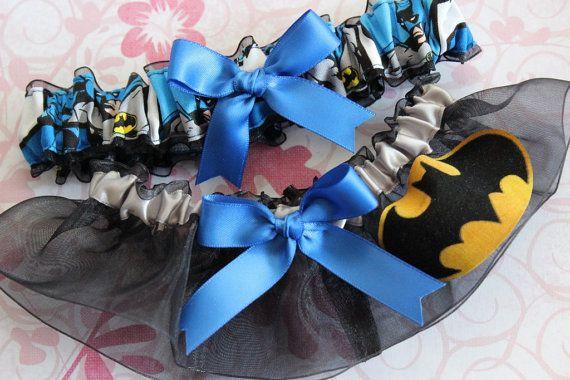 custom sizing Batman fabric handmade on black organza into wedding bridal prom garters - garter set w blue bow - size xs s m l xl or xxl