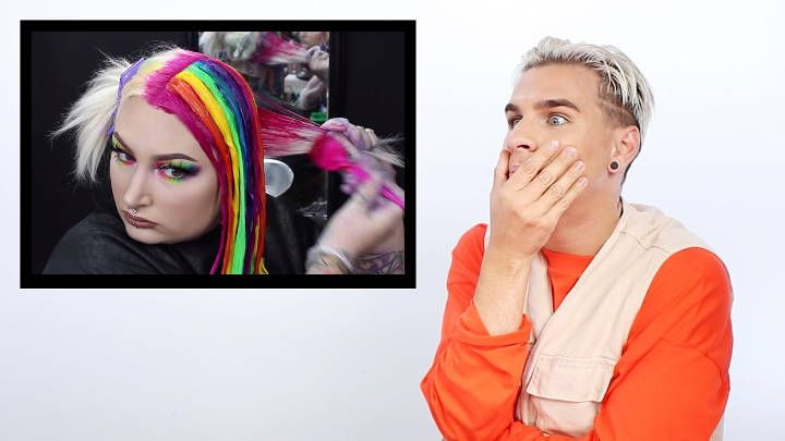Hairdresser Reacts To Rainbow Hair Brad Mondo Rainbow Hair Hair Cool Hairstyles