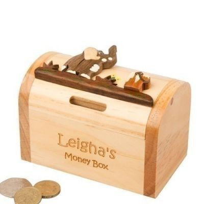 Child's Wooden Money Box: Elephant. £19.99 #WoodenMoneyBox #BabyGifts #NewBaby #Elephant #Newborn #PersonalisedBabyGifts #PersonalisedGifts #PersonalisedMoneyBox