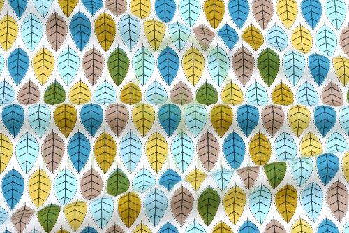 Bawełna listki niebiesko-musztardowe