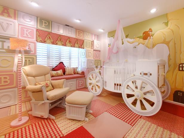 With a crib modeled after a carriage, this storybook nursery is perfect for a princess-in-training. The room includes other charming touches like wallpaper with a toy block motif, quilted carpeting and an adorable woodland mural. Image courtesy of PoshTots: Bedrooms Theme, Kids Bedrooms, Little Girls, Girls Bedrooms, Baby Girls Room, Baby Room, Girls Nurseries, Little Princesses, Princesses Room