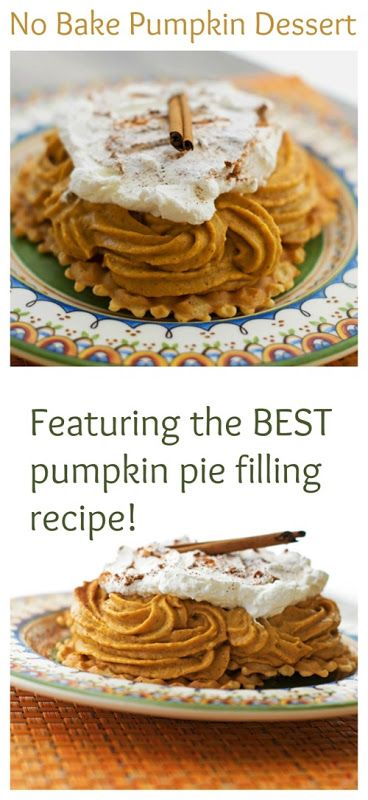 Pumpkin Pie Filling - this is a no-bake, GF filling made from pumpkin, cream cheese and spices.  Once thickened, pipe filling onto pizzelles or individual tart shells - via Mrs Major Hoff