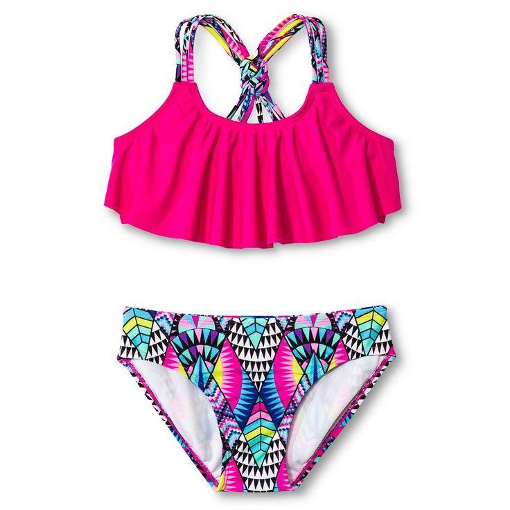 Girls' 2-Piece Bikini Pink Rose - Circo™. Image 1 of 2.