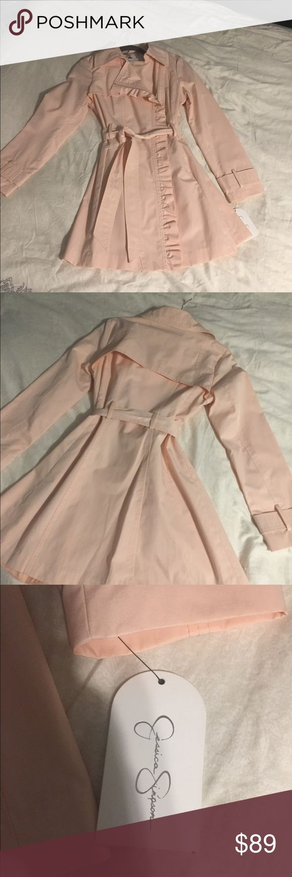 NWT pretty pink trench coat NWT Jessica Simpson pretty flirty pink trench coat/rain coat ! Adorable on! I accept reasonable offers. Jessica Simpson Jackets & Coats Trench Coats