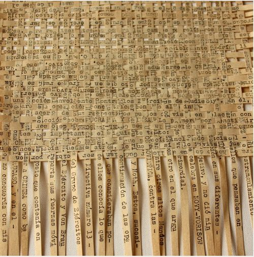 weaving strips of text into art                                                                                                                                                                                 More