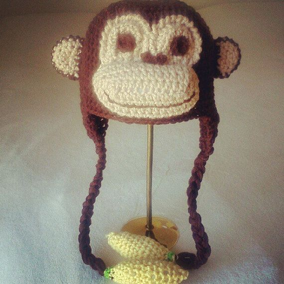 Colorful Monkey Hat Crochet Pattern Model Easy Scarf Knitting