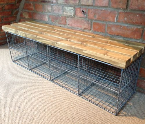 Porch / shoe shelves / wire basket / mudroom / storage / industrial / basket / recycled / timber / laundry