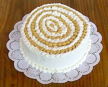 Torta de Merengue Lúcuma. This is a typical Chilean treat, done with meringue, whipped cream and a fruit called Lúcuma you can only find there (and in Perú).