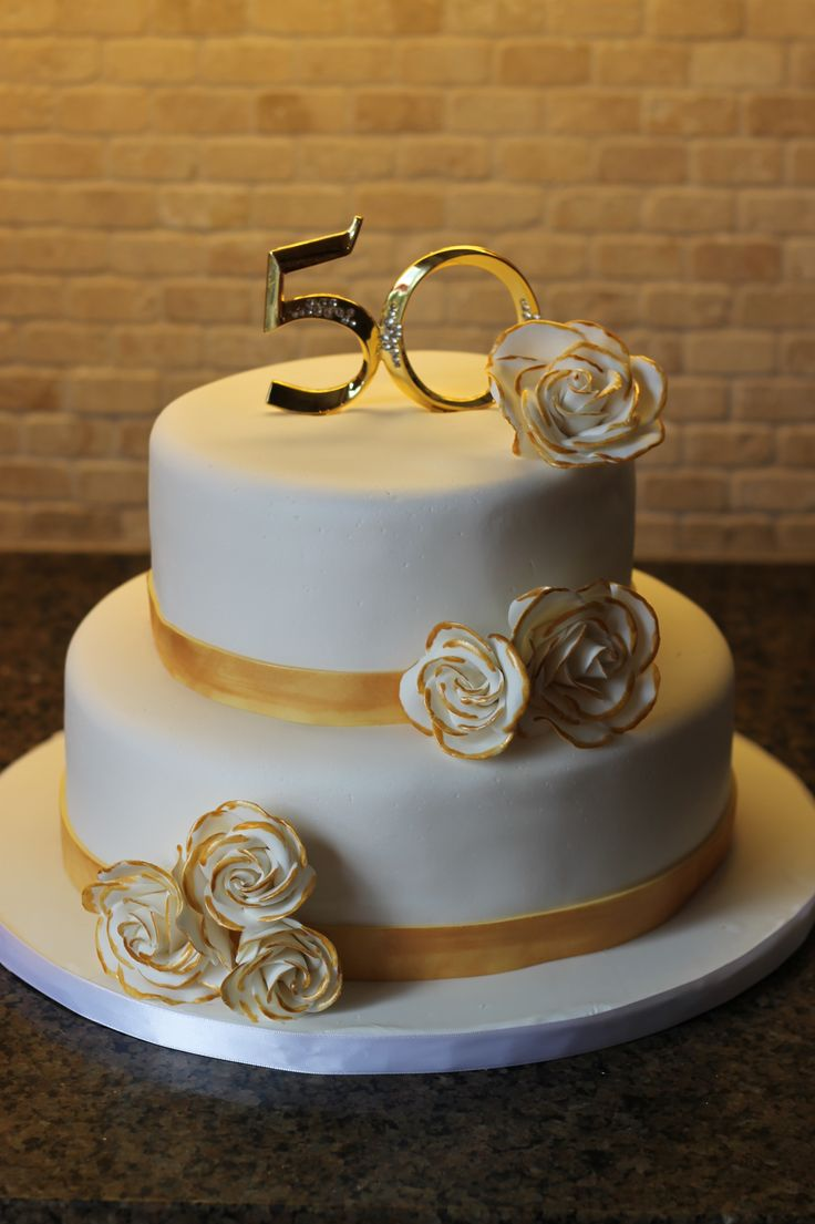 Funny anniversary cake quotes - Simple Gold And White Anniversary Cake