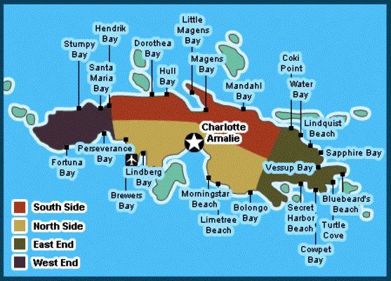 google map of st thomas usvi showing its beaches
