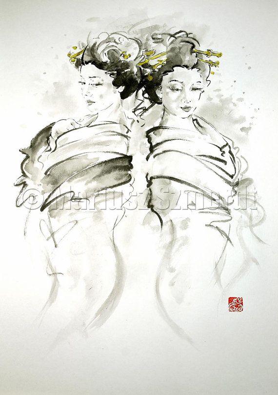 GEISHA Kimono Tokyo Kyoto oriental Asian erotic gold hair pin woman portrait extravagance GICLEE fine art print  ink PAINTING