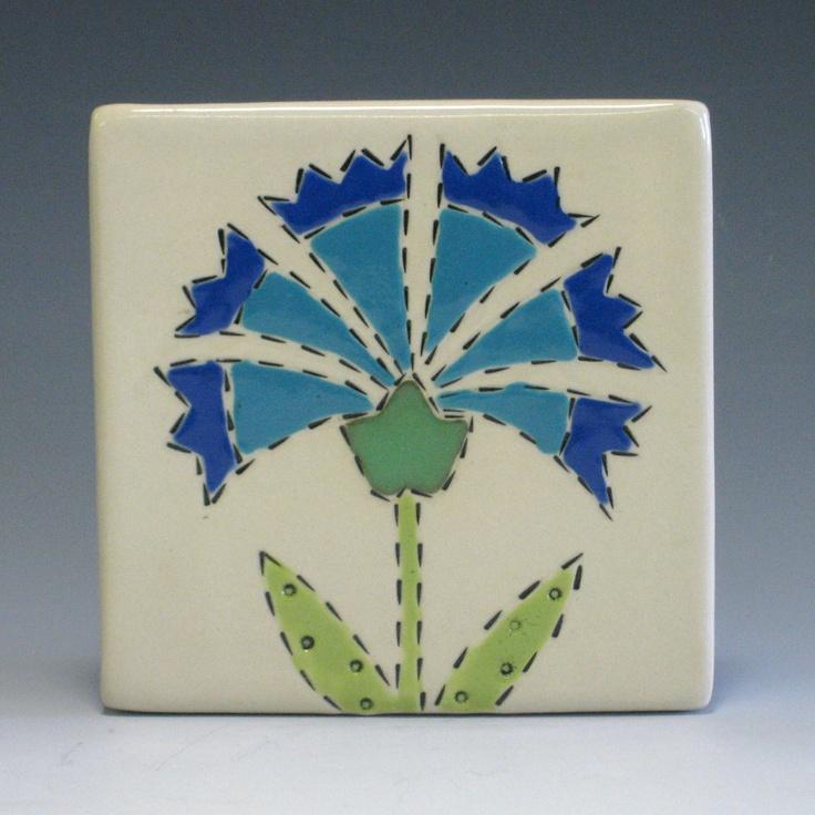 Blue Banner Flower - Folk Art Flower - Handmade Ceramic Tile - 4 inch - SALE. $18.00, via Etsy.: Etsy, Inch, Banners Flowers, Ceramics Tile, 1800, Handmade Ceramics, Blue Banners, 18 00, Folk Art Flowers
