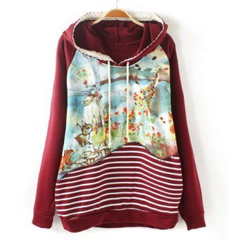 Casual Lace Embellished Long Sleeve Striped and Printed Hoodie For Women, CLARET, ONE SIZE in Sweatshirts & Hoodies | DressLily.com