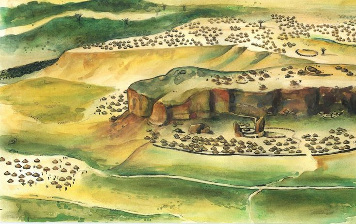 An artist impression of Mapungubwe in the 13th century A.D.