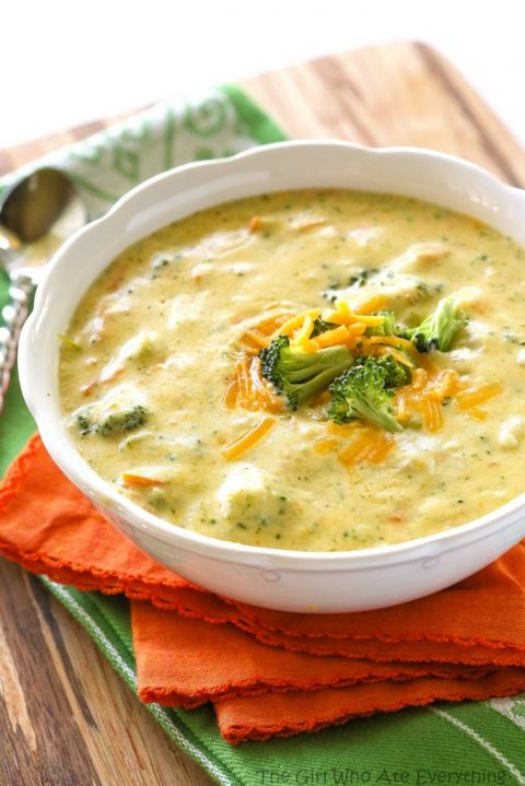 Panera's Broccoli Cheese Soup - tastes just like the real thing. Sub tapioca for flour.