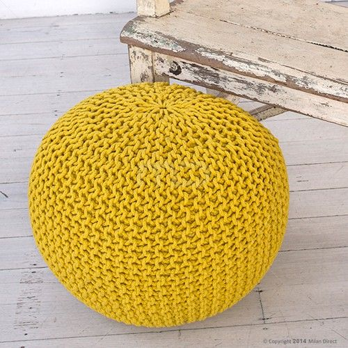 Knitted Footstool Pouffe Large - Mellow Yellow