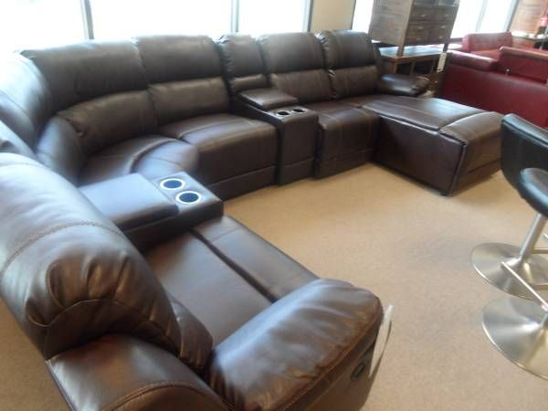 LF ENTERPRISES LEATHER 7 PIEXCE RECLINING SECTIONAL 1599.99 DISCOUNT DIRECT  375 CORPORATE DR S TUKWILA WA