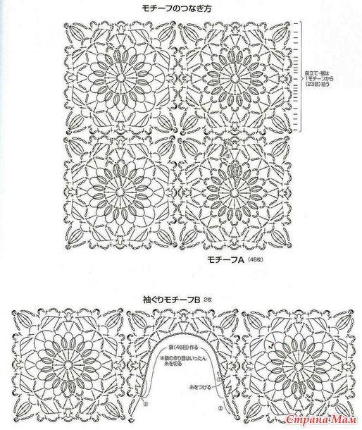 Μπουφάν μπουφάν που κατασκευάζονται με βελόνες πλεξίματος και πλάτη με μοτίβα κροσέ.