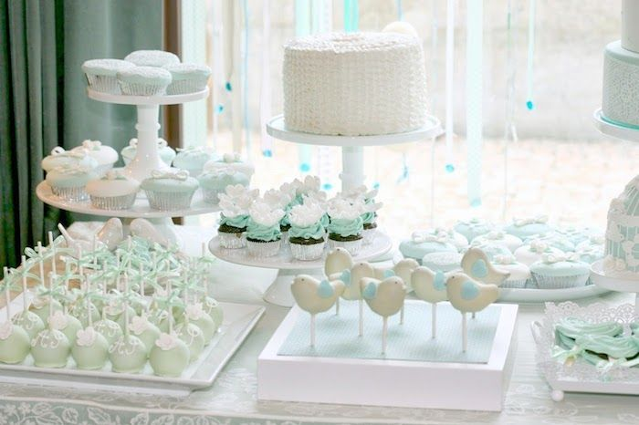 Mint and White Bird Themed Baptism Party with SUCH DARLING IDEAS via Kara's Party Ideas! full of decorating ideas, dessert, cake, cupcake..