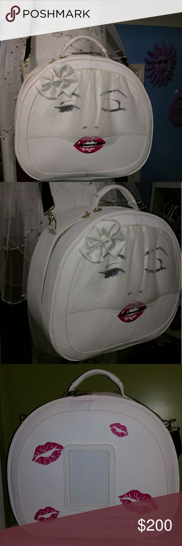 "Betsey Johnson Train Case Marilyn Monroe Kiss The Bride Weekender Luggage Color: Bone (off white) Height: 15"" Width: 7"" Length: 17"" Strap drop: handles - 2"" & crossbody strap adjusts to 22"" Betsey Johnson Bags Travel Bags"