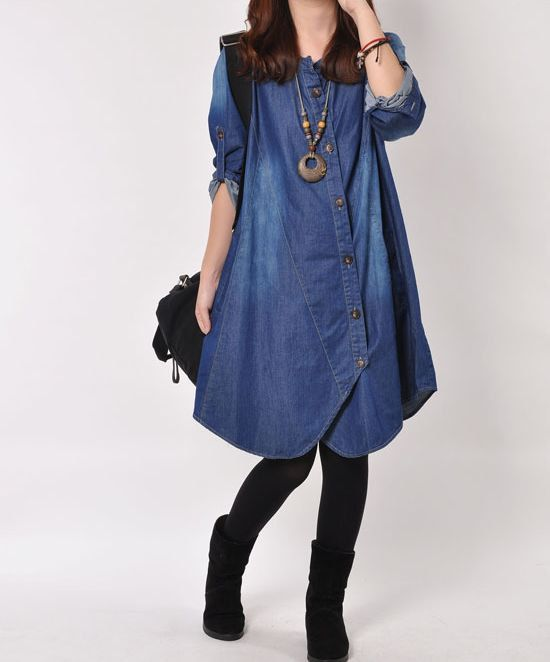 Denim dress Denim shirt maxi dress long by originalstyleshop, $65.00