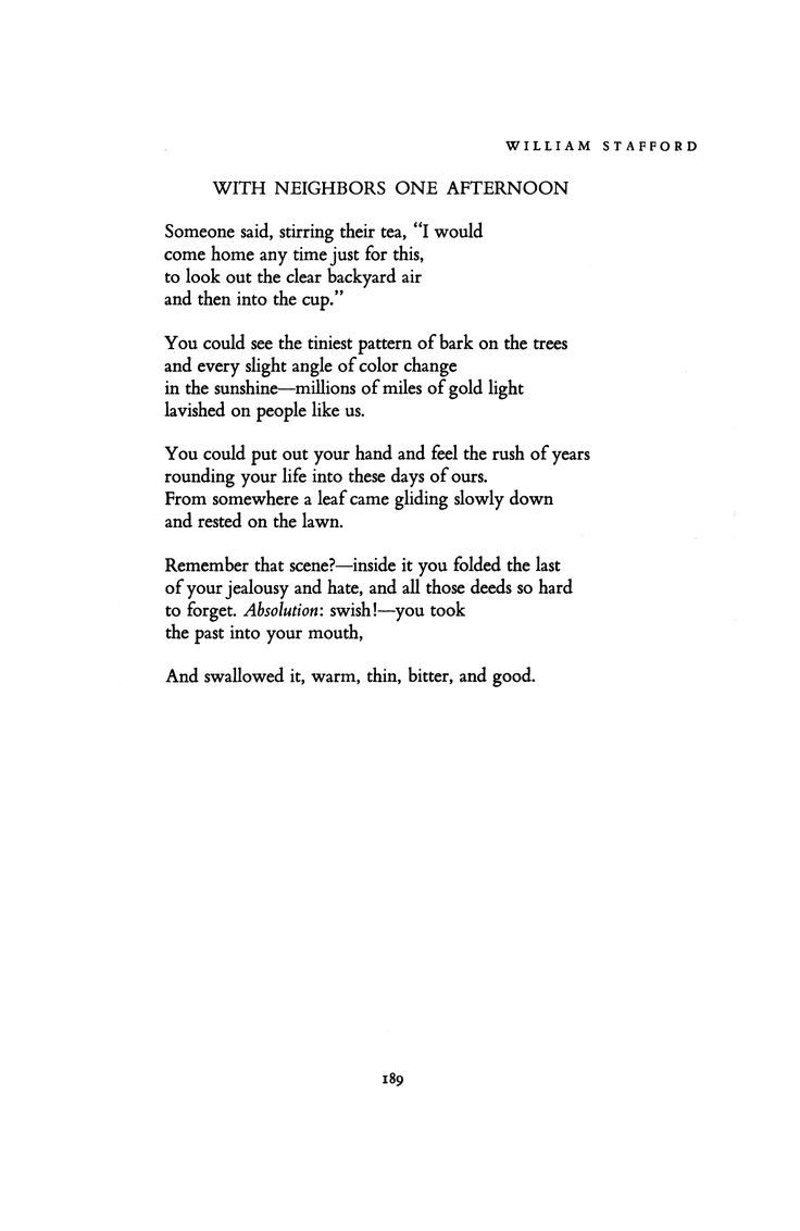 With Neighbors One Afternoon by William E. Stafford   Poetry Magazine