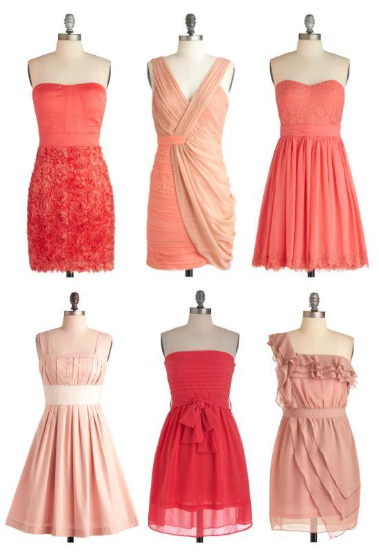 Coral dresses #bridesmaiddress