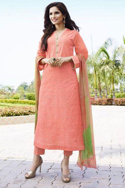 Party Wear Peach Cotton Mirror Work Salwar Suit