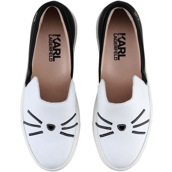 Karl Lagerfeld K/Sneaker Slip On found on Polyvore featuring shoes, flats, sneakers, leather slip-on shoes, slip-on shoes, cat footwear, leather shoes and cat flats
