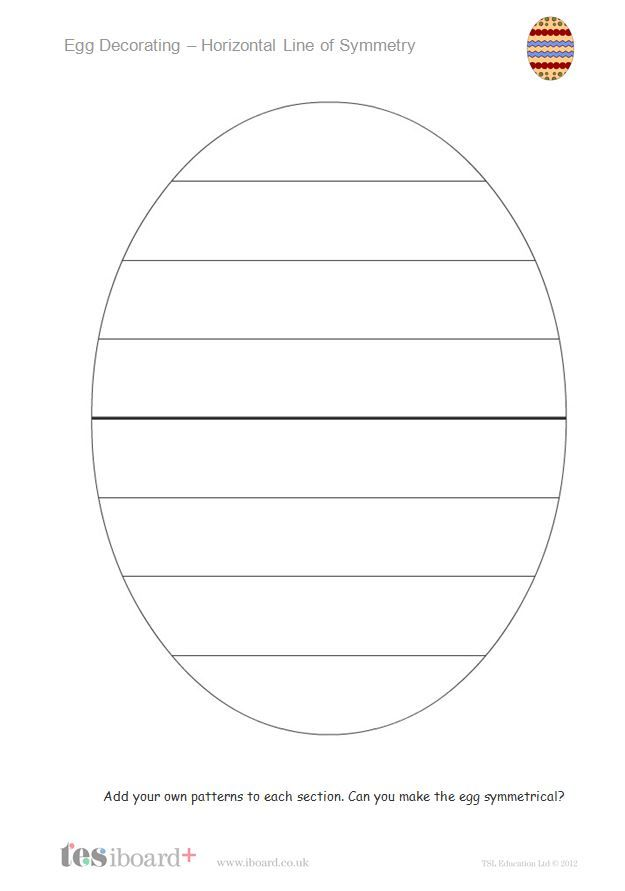 A TES iboard ( http://tesiboard.co.uk ) activity. Create a symmetrically decorated egg by dragging patterns onto areas of the egg template. Also included are two sheets for pupils to add their own patterns to decorate an egg - using either a vertical or horizontal line of symmetry.