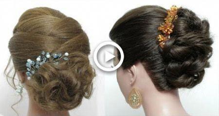 2 Bridal Hairstyles For  Long Medium Hair Tutorial. Messy Bun Updos #hairstyles …
