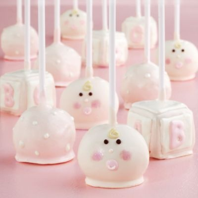 Cute cake pops for a baby girl shower. Love the soft pink.