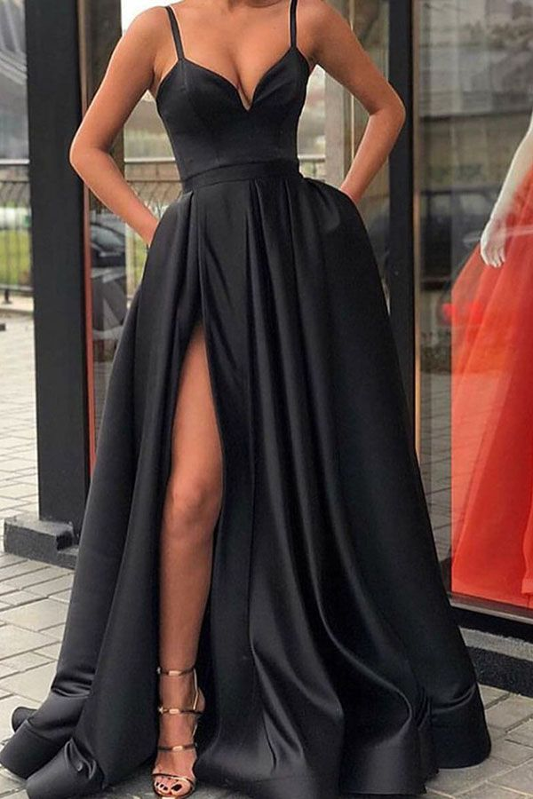 91eb0860926 A-line Spaghetti Straps Black Prom Dress with Pockets in 2019