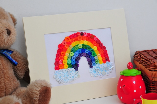 Original Hand painted Rainbow Button Picture - Folksy.com/shops/RainbowIllustrations