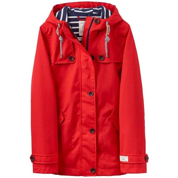 Women's Joules Coast Waterproof Coat ($91) ❤ liked on Polyvore featuring outerwear, coats, red coat, waterproof coat, red hooded coat, hooded coat and water proof coat