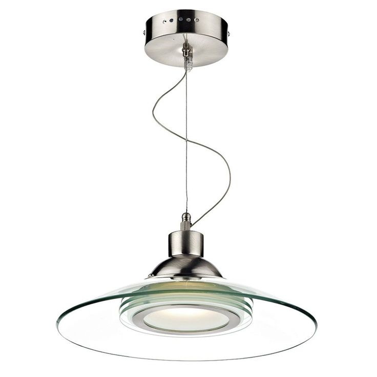 Dar Kasko Satin Chrome Finish LED Ceiling Pendant Light With Curved Glass  Shade,
