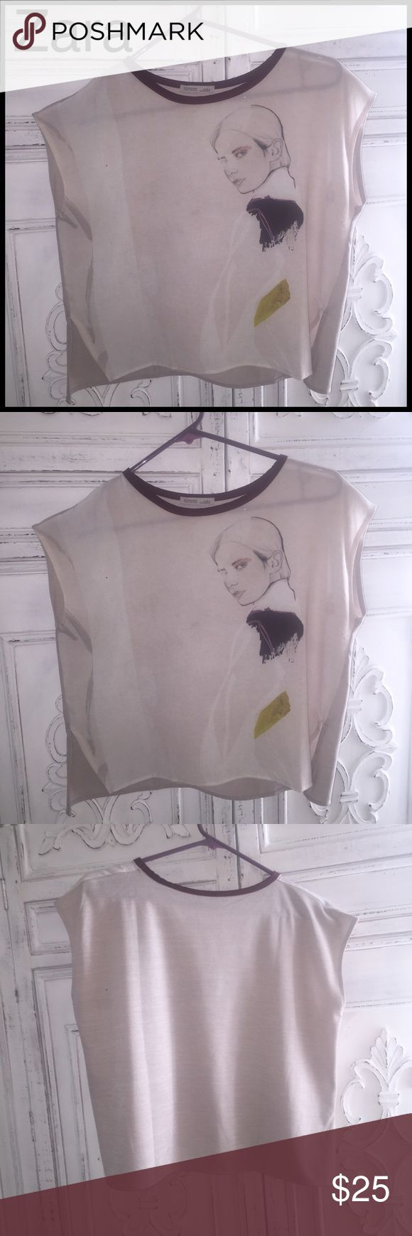 Zara Pretty Girl Shirt Zara W/B collection sleeveless lightweight top. Slightly sheer. Purple collar with slits on both sides. Only worn once cut tag off. Like new!! Color is off white, almost grey. Made in Morocco Zara Tops Blouses